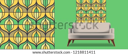 Seamless retro pattern in the style of the sixties. Art deco vintage wallpaper or fabric. Retro interior #1218811411