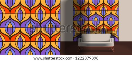Seamless retro pattern in the style of the sixties. Art deco vintage wallpaper or fabric. Retro interior #1222379398