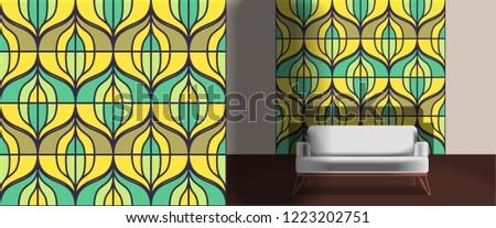 Seamless retro pattern in the style of the sixties. Art deco vintage wallpaper or fabric. Retro interior #1223202751