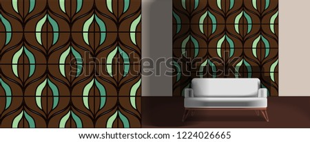 Seamless retro pattern in the style of the sixties. Art deco vintage wallpaper or fabric. Retro interior #1224026665