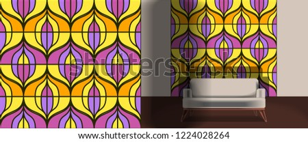 Seamless retro pattern in the style of the sixties. Art deco vintage wallpaper or fabric. Retro interior #1224028264