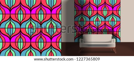 Seamless retro pattern in the style of the sixties. Art deco vintage wallpaper or fabric. Retro interior #1227365809