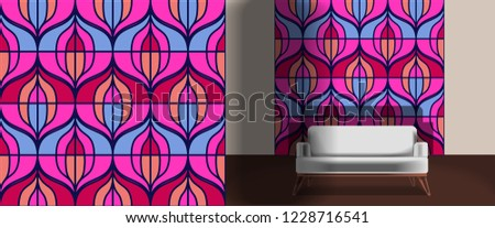 Seamless retro pattern in the style of the sixties. Art deco vintage wallpaper or fabric. Retro interior #1228716541