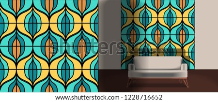 Seamless retro pattern in the style of the sixties. Art deco vintage wallpaper or fabric. Retro interior #1228716652