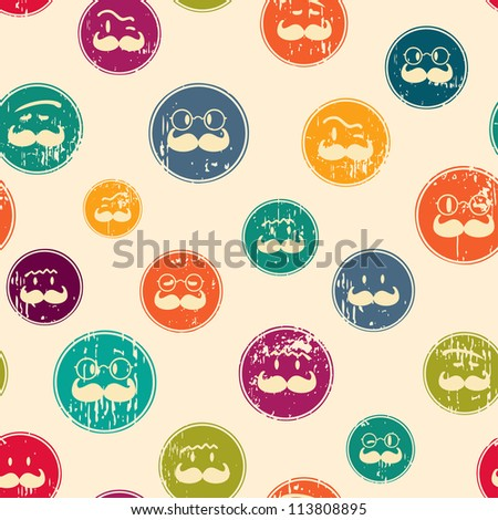 Seamless retro pattern. Texture with funny faces.Seamless pattern can be used for wallpaper, pattern fills, web page background,surface textures. Gorgeous seamless background