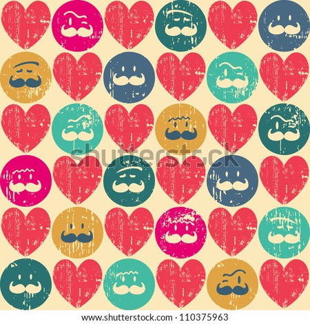 Seamless retro pattern. Texture with threadbare hearts and funny faces.