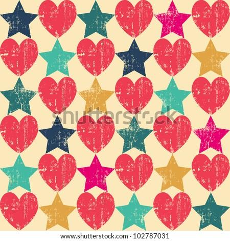 Seamless retro pattern. Texture with threadbare hearts and stars. Vector version.