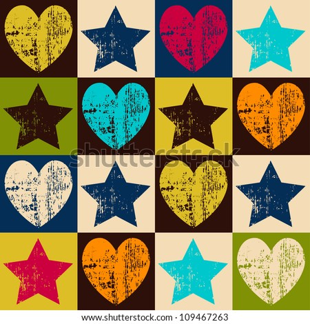 Seamless retro pattern. Texture with threadbare hearts and stars. Vector version.