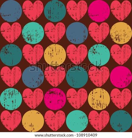 Seamless retro pattern. Texture with threadbare hearts. Vector version.