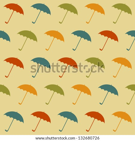 Seamless retro pattern with umbrellas. Vector illustration EPS