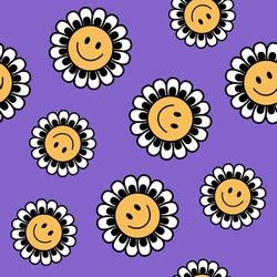 Seamless Retro Positive Flower Vector Art Illustration. Smiling Flower Icon texture All Over Print.