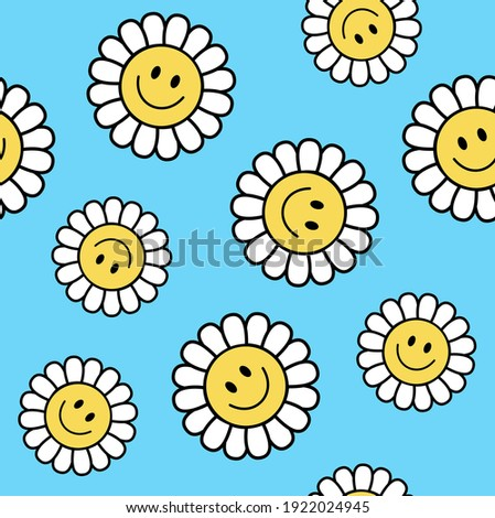 Seamless Retro Positive Flower Vector Art Illustration. Smiling Flower Icon texture All Over Print. Сток-фото ©