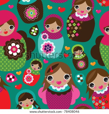 Seamless retro russian doll illustration background pattern in vector - stock vector