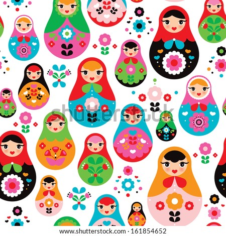 seamless retro russian doll