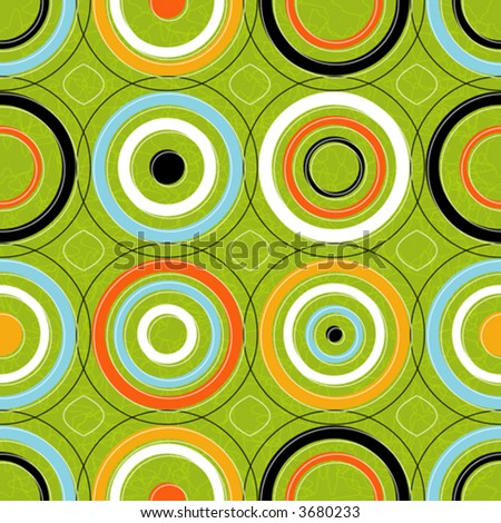 Seamless Retro-stylized Concentric Circles. Tileable, seamless easy-edit layered vector file.