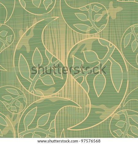 Seamless Retro Wallpaper With Paisley and Leaves