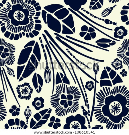 Seamless rich floral pattern. Velvet effect texture with black summer flowers on yellow retro background