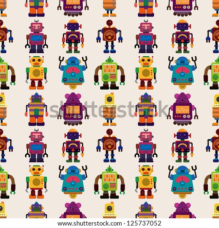 seamless robot pattern cartoon
