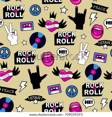 seamless rock music pattern