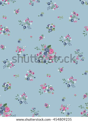 Seamless Romantic Ditsy Floral Print in Vector