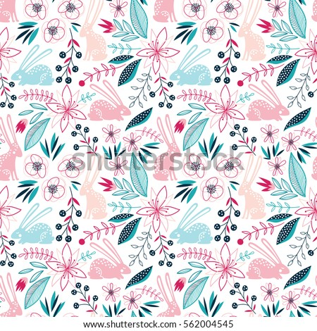 Seamless romantic floral vector pattern with birds and hearts