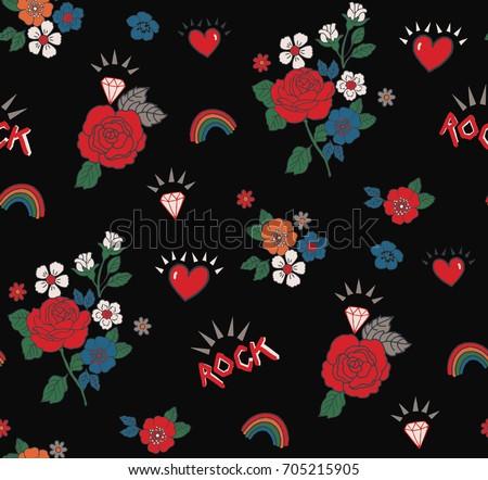 seamless rose rock pattern in