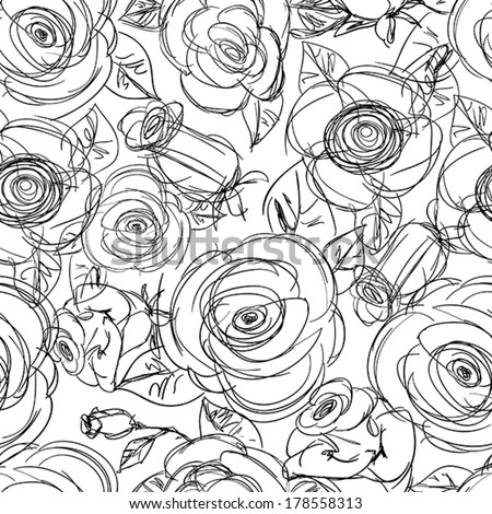 seamless rose sketchy background