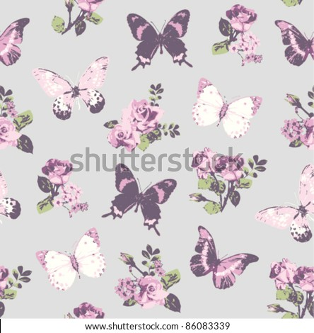 seamless rose with butterfly on grey background