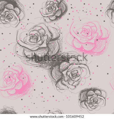Seamless roses pattern / Vintage floral background