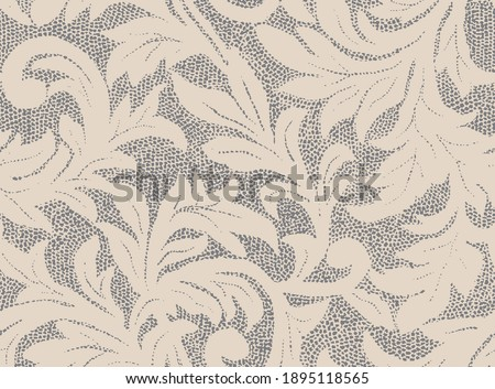 Seamless rotary repeatable textile print with leaves, leaf and sprig and foliage design. The design is fully editable and easy to change colors to suit your fashion palette for the season. Stockfoto ©