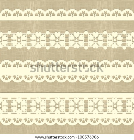 Seamless rustic burlap pattern. Vintage straight lace on linen canvas background. eps 10