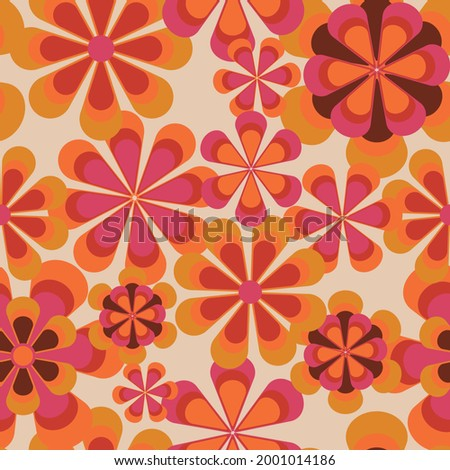 Seamless 70s retro floral pattern with vintage daisy flowers for fabric or wallpaper - Vector Сток-фото ©