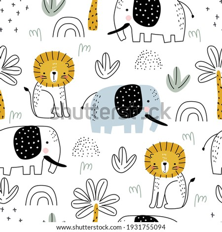Seamless safari pattern with lion, elephant and palm trees on white background. Vector illustration for printing on packaging paper, fabric, postcard, clothing. Cute children's background. Stock fotó ©