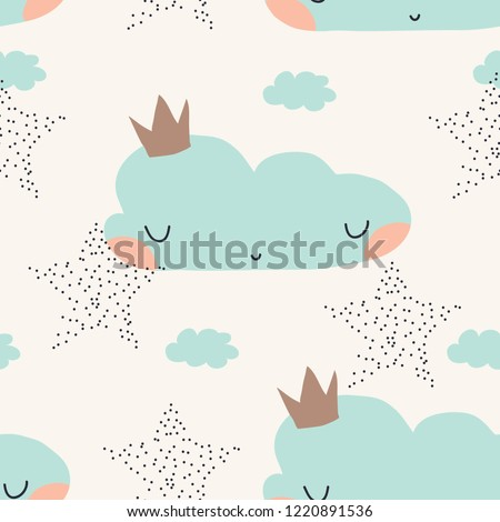 Seamless scandinavian childish pattern with clouds. Lovely doodle pattern for kids. Vector illustration. Scandinavian style pattern template for fabric, wrapping, textile.