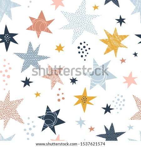 Seamless scandinavian childish pattern with stars and dots. Starry kid-like doodle backdrop . Vector illustration. Nursery decorative background with hand drawn texture for fabric, wrapping, textile Photo stock ©