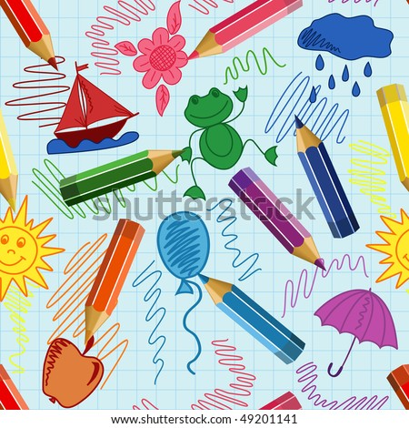Seamless school background with pencils (EPS10) - stock vector