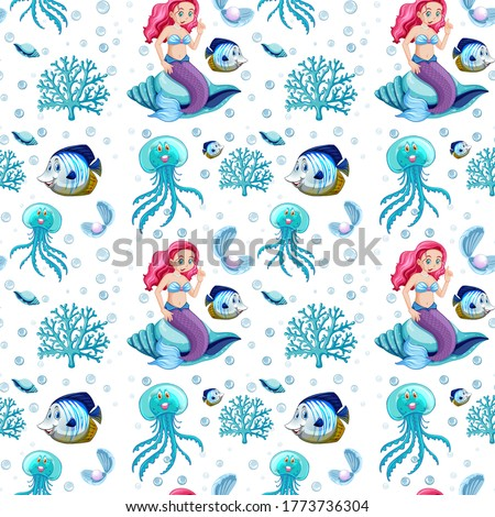 Seamless sea animals and mermaid cartoon character on white background illustration