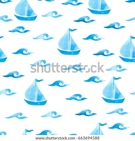 Seamless sea pattern with blue watercolor waves and boats. Vector marine background.