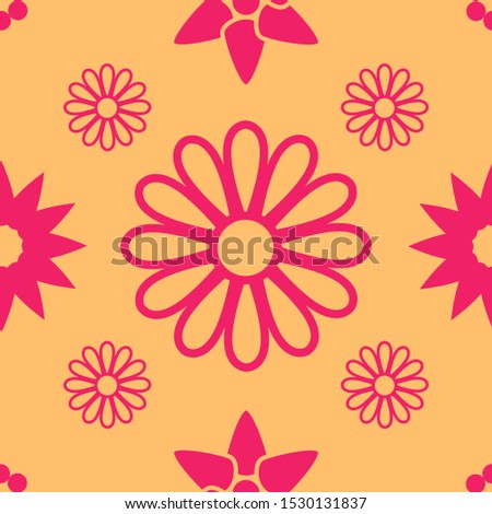 Seamless Seamless background floral pattern in orange and red colors for fabric and print paper. Vector illustration