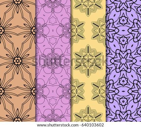 Seamless set floral pattern. vector illustration. For design, wallpaper, background fills #640103602