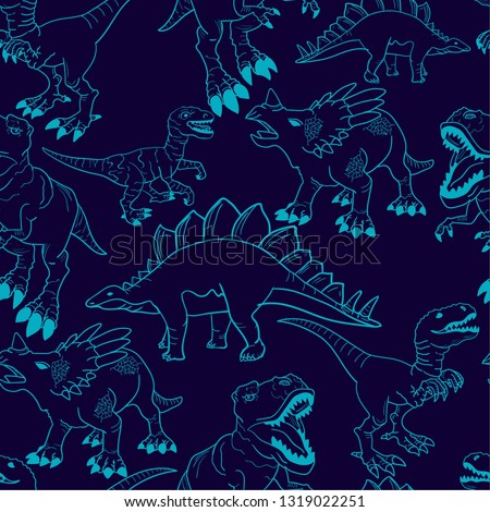 Seamless  silhouette  Dino pattern, print for T-shirts, textiles, wrapping paper, web. Original design with t-rex, dinosaur.  grunge design for boys and girls