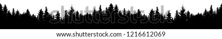 Seamless silhouette of coniferous forest, vector. Panorama evergreen Christmas Tree, spruce, fir. Isolated vector on white background