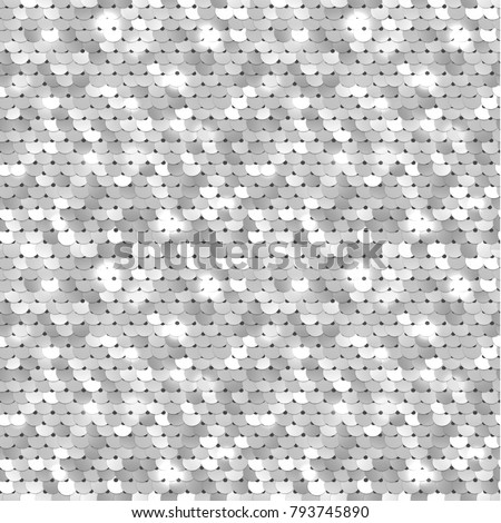 Seamless silver texture of fabric with sequins