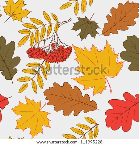 Seamless simple pattern with autumn leafs