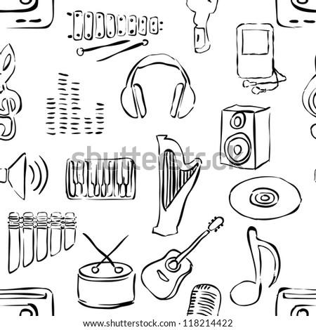 seamless sketch music pattern