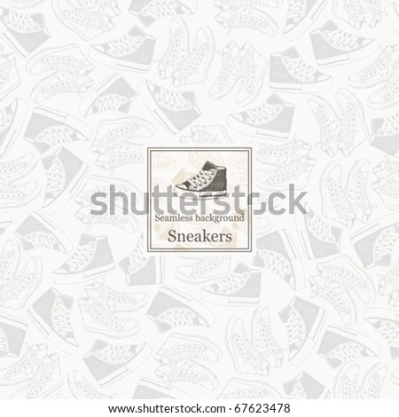 Seamless sneakers. Vector background