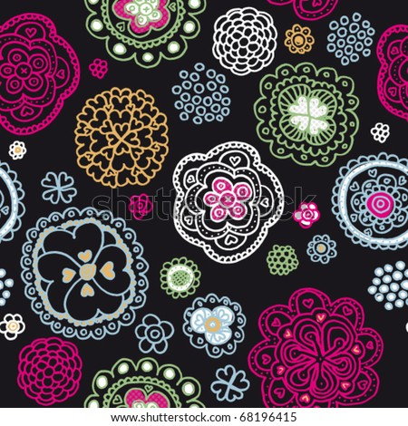 Seamless snowflake and flower background pattern in vector