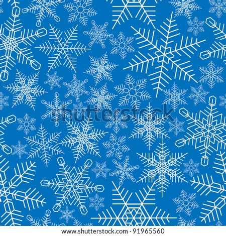 Seamless snowflakes background in blue tone.