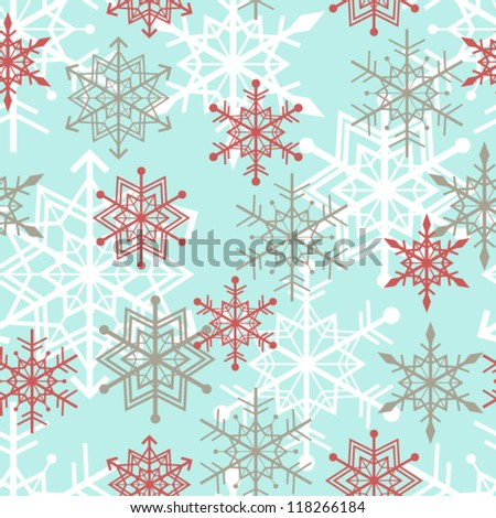 Seamless snowflakes background pattern. winter theme. Vector illustration