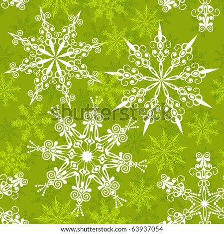 Seamless snowflakes pattern, vector illustration - stock vector
